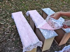 Transform old furniture with lace and spray 2