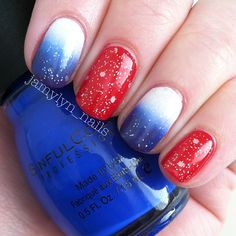 Red, white and blue nails