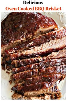 Cooked Barbecue Brisket Tender oven cooked barbecue brisket is marinated overnight and baked for hours for melt in your mouth tender meat!Tender oven cooked barbecue brisket is marinated overnight and baked for hours for melt in your mouth tender meat! Oven Cooked Brisket, Baked Brisket, Beef Brisket Recipes, Brisket In The Oven, Brisket Meat, Pork Recipes, Spinach Recipes, Recipe For Brisket, Roast Beef