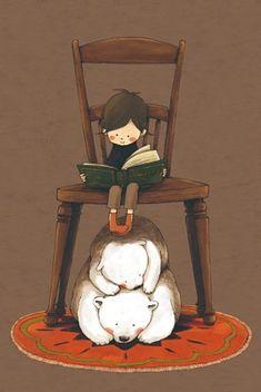 Boy reading, big chair, polar bears. Book. Kids Illustration. 读书郎