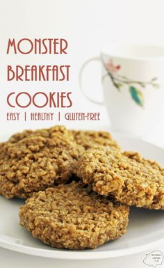 Monster Breakfast Cookies: Full of heart-healthy ingredients and gluten-free whole grains, these cookies make a delicious, filling breakfast! via @RachaelPPW