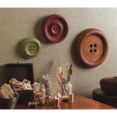 Wood wall buttons. - use my wood plates and flat bowls