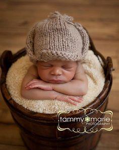 Knit Sherlock Holmes Hunting Cap Beanie Newborn Baby Unisex Girl Boy Photography Photo Prop. $14.00, via Etsy.