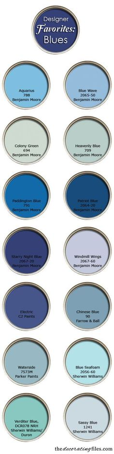 """Blue Paint Colors: Designer's Favorite Picks"" by the decorating files (http://decoratingfiles.com)"