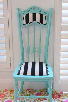 magical aqua  stripes ~ painted chair