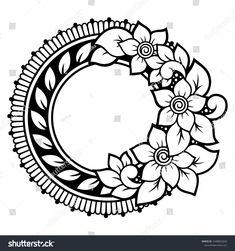 Circular pattern in form of mandala with flower for Henna, Mehndi, tattoo, decoration. Decorative ornament in ethnic oriental style. Easy Mandala Drawing, Mandala Art Lesson, Simple Mandala, Flower Pattern Drawing, Flower Art Drawing, Flower Sketches, Flower Henna, Flower Mandala, Beginner Henna Designs