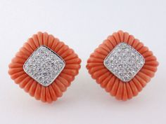 Vintage 18K Gold Natural Carved Coral & 1.75ct tw Diamond Earrings