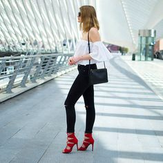 Get this look: http://lb.nu/look/8212589  More looks by Catherine V.: http://lb.nu/fashionardenter  Items in this look:  Zara Off Shoulder Top, Céline Bag, Zara Jeans, Shoegeeks Red Heels   #chic #minimal #romantic
