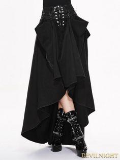 Black High Waist Gothic Skirt - Devilnight.co.uk