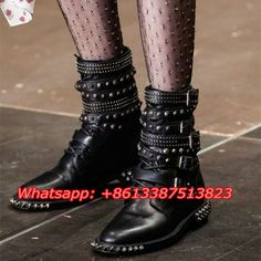 (119.99$)  Watch now - http://aize5.worlditems.win/all/product.php?id=32804299478 - Bota Feminina Cool Punk Motorcycle Boots Studded Belt Buckle Embellished Black Soft Leather Flats Ankle Botas Mujer Shoes Woman