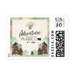 Adventure awaits Stamps Travel Places World map - birthday cards invitations party diy personalize customize celebration