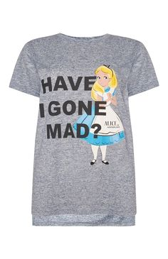 Primark - Grey Disney Alice In Wonderland T-Shirt