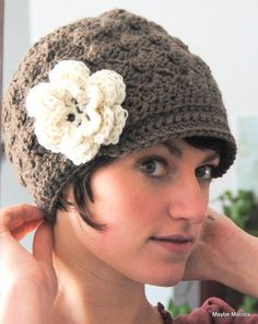 Adult Crochet Brimmed Beanie Shell Hat with Flower by maybematilda, $30.00