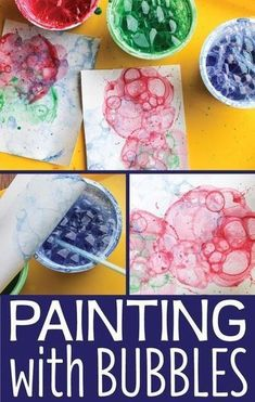 Looking for new art activities for kids? Bubble painting is a fun process art activity. #preschool #toddlers