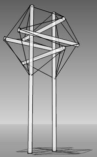 Ropes and Poles: Six pole tensegrity gateway