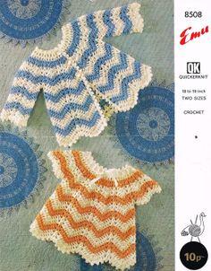 Emu 8508 baby matinee coat and dress vintage crochet by Ellisadine, £1.00
