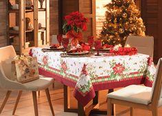 Toalha de mesa Natal Festivo. Detalhes em dourado.