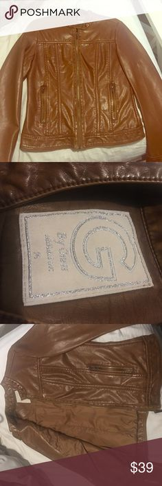 Women's Guess Leather Moto Jacket Used once, great condition leather jacket. Guess Jackets & Coats