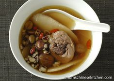Chinese Chicken and Herbs Soup with Lotus Seed, Wolfberries, Fox Nut and Chinese Yam