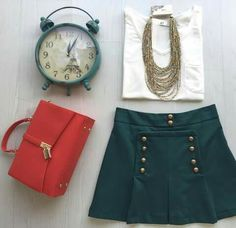 Olive jupe red bag white blouse