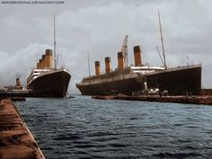 RMS Olympic and RMS Titanic A rare photo of the two ships together , which has been recently digitally coloured  by hmhsbritannic