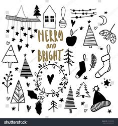 Christmas doodles. Hand drawn vector icons. Xmas and New Year scrapbook stickers. Christmas tree, garland, socks, mitens, house. Simple scandinavian style. Merry and bright.