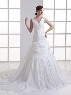 Breanna - księżniczka bez rękawów tafta suknia ślubna z aplikacjami - PLN 1021,67zł