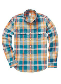 Fieldhouse Flannel Slim - Blue & Orange