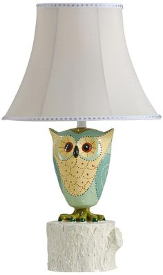 Green Owl Silk Shade Table Lamp -
