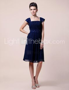 Sheath/Column Square Short Sleeve Knee-length Chiffon Mother of the Bride Dress - US$ 128.69
