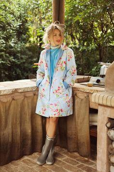 Maria Iliaki In Vintage Dress Raincoat By Eclectic Soiree Panos Kallitsis Salon English Country Styleraincoatvintage