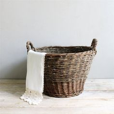 Antique Wicker Basket from lovintagefinds on Etsy. Shop more products from lovintagefinds on Etsy on Wanelo. Wicker Baskets With Handles, Old Baskets, Jute, French Baskets, Wicker Patio Furniture, Basket Bag, Simple House, Decoration, Interior Decorating