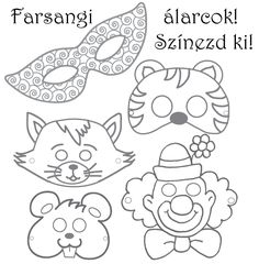 Farsangi álarcok | cegled.imami.hu | farsangi álarc, jelmez, farsang, színezhető álarc, álarc kifestő, állatos álarc