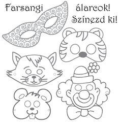Farsangi álarcok   cegled.imami.hu   farsangi álarc, jelmez, farsang, színezhető álarc, álarc kifestő, állatos álarc
