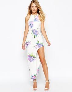 Ginger Fizz Floral Print Maxi Dress With Thigh High Split