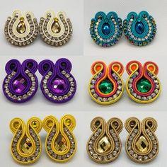Mini drops in soutache Soutache Earrings, Diy Earrings, Crochet Earrings, Pearl Earrings, Needlework, Jewerly, Beads, Stone, Mini