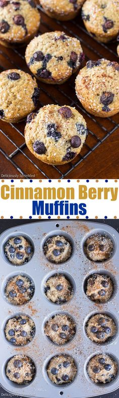Cinnamon Berry Muffins- Homemade blueberry muffins with an extra twist of cinnamon!