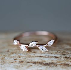Unique Ring for Women Featuring Rose Gold and Diamonds. Handcrafted by Staghead Designs.