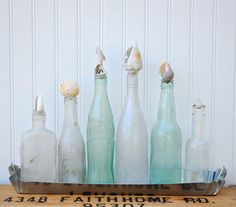 """Beach Cottage - """"Mother of Pearl"""" Vintage Bottle Collection In Tin Tray With Seashell Stoppers (large tray, large bottles)"""