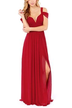Red Sweetheart Maxi Dress with Off Shoulder