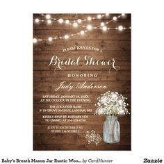 """Baby's Breath Mason Jar Rustic Wood Bridal Shower Card ================= ABOUT THIS DESIGN ================= Baby's Breath Mason Jar Rustic Wood Bridal Shower Invitation Template. (1) For further customization, please click the """"Customize it"""" button and use our design tool to modify this template. All text style, colors, sizes can be modified to fit your needs. (2) If you prefer thicker papers, you may consider to choose the Matte Paper Type. (3) If you need help or matching items, please…"""