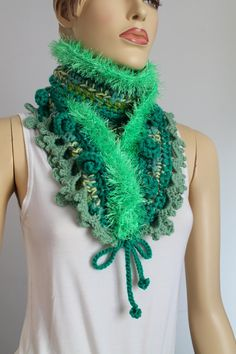 Hey, I found this really awesome Etsy listing at https://www.etsy.com/listing/196216733/chic-boho-hippie-green-crochet-scarf