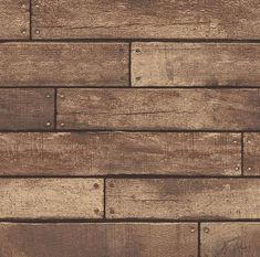 Brewster Home Fashions Essentials Weathered Nailhead Plank x Wood Wallpaper Roll Color: Brown Wood Plank Wallpaper, Look Wallpaper, Brick Wallpaper Roll, Damask Wallpaper, Wallpaper Samples, Rustic Wallpaper, Stone Wallpaper, Wallpaper Ideas, Primitive Wallpaper