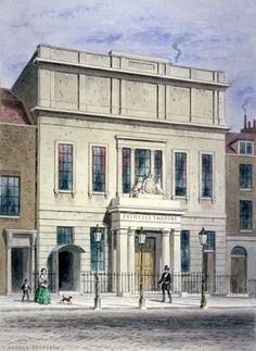 North front of Princess's Theatre on Eastcastle Street, St Marylebone,  by Thomas Hosmer Shepherd