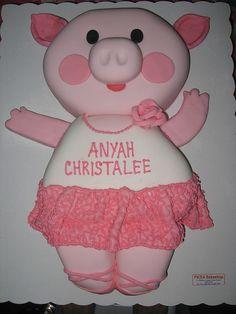 pig ballerina cake