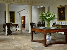 Entrance Elegance with old stone floor & dividing colums. this is West Horsley Place in Surrey. Interior Design Inspiration, Home Interior Design, Interior Styling, Interior Architecture, Interior Decorating, English Interior, Antique Interior, English Country Style, Country Style Homes