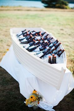 A great way to let guests help themselves to drinks. Casual Maine seaside…