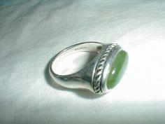 vintage jade sterling silver ringsz.11 by qualityvintagejewels, $75.00