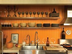 Bead board open shelves - Pictures of Colorful Kitchens: Ideas for Using Color in the Kitchen   Kitchen Ideas & Design with Cabinets, Islands, Backsplashes   HGTV