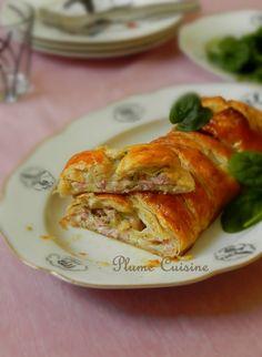 Feuilleté-tressé-jambon-mozzarella English Food, English Recipes, Mozzarella, Entrees, Delish, Pizza, Nutrition, Meat, Cooking